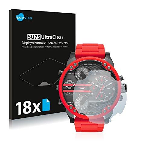 Savvies 18x Schutzfolie kompatibel mit Diesel DZ7370 Displayschutz-Folie Ultra-transparent