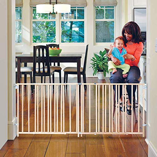 Toddleroo by North States 103' Wide Extra Wide Swing Baby Gate: Perfect for Oversized Spaces. No Threshold. One Hand Operation. Hardware Mount. Fits 60'- 103' Wide (27' Tall, Sustainable Hardwood)