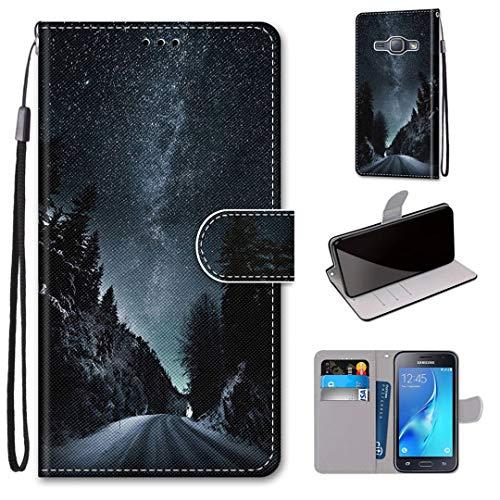 Samsung Galaxy J1 (2016) Hülle, SATURCASE Schön PU Lederhülle Magnetverschluss Brieftasche Kartenfächer Standfunktion Handschlaufe Schutzhülle Handy Tasche Hülle für Samsung Galaxy J1 (2016) (DK-14)