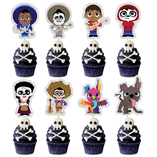 Glitter Coco Cupcake Toppers,24pcs Movie CoCo Figures Happy Birthday Cake Decor Picks,Kids Birthday Baby Shower Party Decoration Supplies