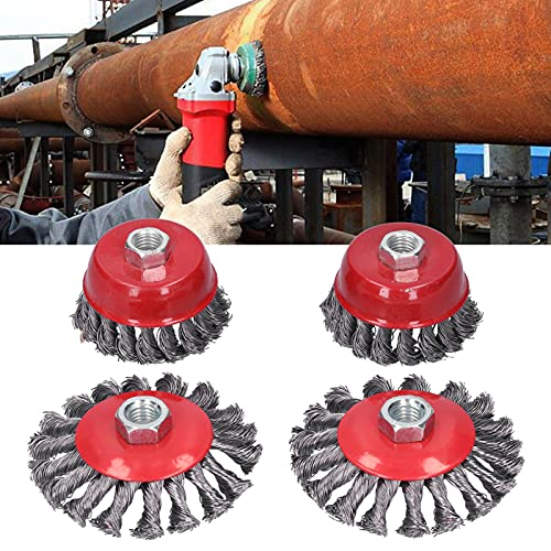 Steel Wire Wheel Drill Bit, High Durability Wire Polishing Brush Drill Wire Brush with M14 Thread for Edging for Deburring for Structure