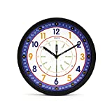 Kids Wall Clock Learning Time Wall Clock Educational Teaching Clock 10 Inch Silent Non Ticking Quality Quartz Battery Operated Wall Clocks for Boys, Room,Kids Room,Playroom(Black)