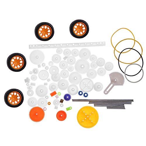 Zahnräder Set , 78pcs Plastik Getriebe Zahnrad Set Riemenscheiben Wurm Zahnstangen Ausrüstungs Gang Gesetztes Wellen Gurt Gears Toy für Flugzeug Auto Modell DIY Installationssatz
