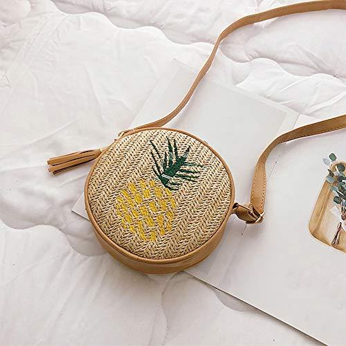 Wankd Ronde Ronde Ronde rotan tas cirkel strotas handgemaakte tas geweven mand handgeweven mand handgeweven tas zomer strandtas schoudertas voor dames en vrouwen 18*18*5cm ananas