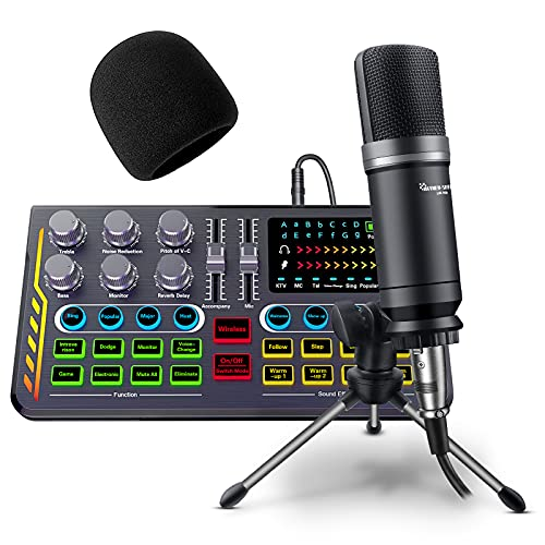 Podcast Equipment Bundle, Audio Interface with DJ Mixer Sound Mixer All-in-ONE with 3.5mm Microphone Perfect for Live Streaming, Recording and Gaming Compatible with PC/Laptop/Smartphone
