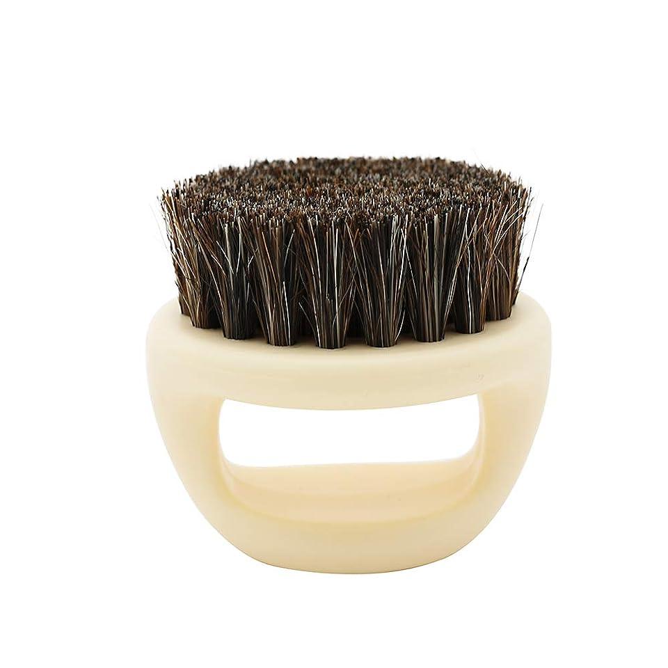 看板反応する暗黙Nrpfell 1個リングデザイン馬毛メンズシェービングブラシプラスチック製の可搬式理容ひげブラシサロンフェイスクリーニングかみそりブラシ(ホワイト)
