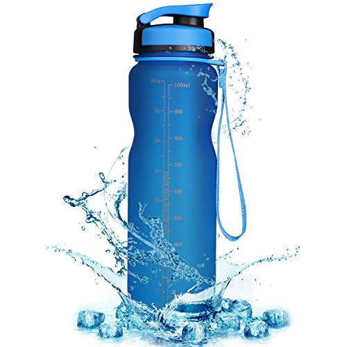 Sports Water Bottle with Filter & Strap, SOKLIT Portable BPA Free Drinking Cup 36oz/1000ml, Flip Top Leak Proof - 0.51lb Plastic Bottles for Gym Outdoor Hiking Camping (Blue)