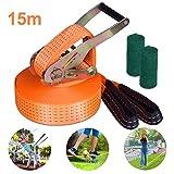 Yuanj | Slackline Kids Set + Tree Protection + Ratchet | 15m Slackline Set voor kinderen | 50 mm breed