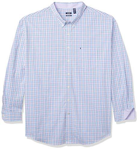 IZOD Men's Big & Tall Big and Tall Button Down Long Sleeve Stretch Performance Plaid Shirt, Lavender, 2X-Large