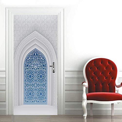 SHOMEY Pegatinas de puerta en 3D Puerta azul 86 x 200 cm DIY Adhesivo Decorativo de Puerta Autoadhesivo de Bricolaje Pegatinas de Pared Decoración de Hogar Arte Moderno