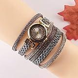 Utsökt, vacker, anständig och generös, ny och unik Frauen Uhren Mode Uhr Voll Diamant Wickel Damen Armbanduhr Rolling Diamant Fashion Damenuhr Damen Mädchen Casual Dekorative Uhren ( Color : Grey )