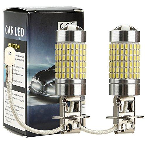 CICMOD 50W 3014 144SMD LED Kit Anti-Brouillard Ampoule LED de Feux Voiture Super Lumineux Lampe Diurne DRL Plat Journée Lampe pour Camions SUV ATV Véhicule Blanc, H3 (1 Paire)