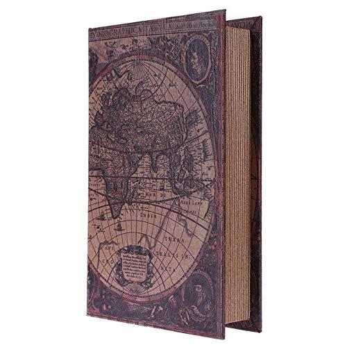 Caja de Almacenamiento de Madera Retro Estilo Europeo Map Mundo Seguridad Libro Seguro Dinero Dinero Organizador Caja caixa de armazenamento (Size : S 21X13.5X3.5cm)