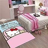 RR-CZY Alfombras Salon Grandes Moderna, Alfombra De Piso, Rosa Azul Blanco, Hello Kitty, Alfombra Antideslizante, Alfombra del Pasillo Gateo Bebes, 160x230cm