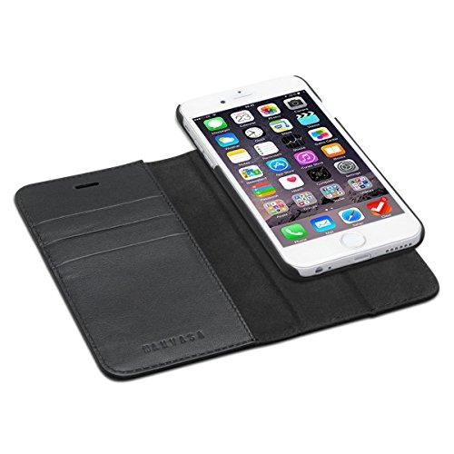 """Custodia iPhone 6 / 6s Pelle Nero- KANVASA Portafoglio Rimovibile Protezione Flip Folio in Autentica Pelle 2 in 1 Cover Case Magnetica per Apple iPhone 6/6s (4.7"""") - La Custodia Più Flessibile"""