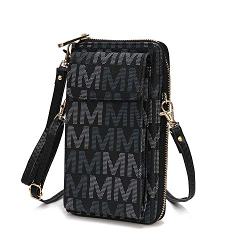 MKF Crossbody Cellphone Handbag for Women Wallet Purse – PU Leather Multi Pockets Clutch Bag, Wristlet Strap Black