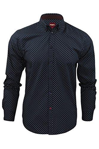 Merc of London SIEGEL, Shirt,Long Sleeve, Polka Dot Chemise habillée, Bleu (Navy), X-Large (Taille Fabricant: XL) Homme