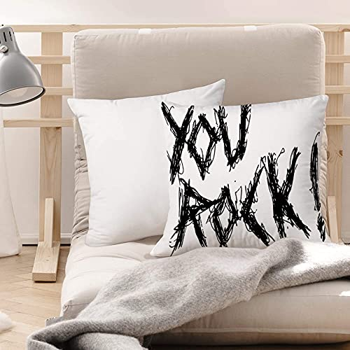 Funda de Cojines Suave Poliéster,Cita, Motivación Día positivo Inspirador lema 'You Rock' T,Funda de Almohada Cremallera Oculta Duradero Decoración para Sofá Cama Dormitorio Aire Libre Oficina 45x45cm