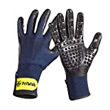 Petwington Pet Grooming Gloves - Dog, Cat, Horse Glove Brush, Long Short Hair Remover, Small, Large Pets Groomer, Fur Removal Mitt, Rubber Curry Comb Mit, Hand Brushing Removing Cleaning Kit, Pair (L)