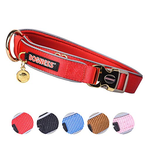 DOGNESS Classic Dog Collar, Comfort Soft Neoprene Padded Nylon, Ultra Safety Reflective Piping, 4 Sizes 5 Colors for Small Medium Large Dogs, Matching Leash Sold Separately (M/L: 17-23 inch, Red)