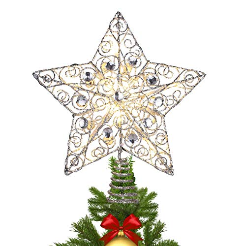 MAOYUE Christmas Tree Topper Lighted Star Tree Topper Sliver Glittered Christmas Tree Decorations for Indoor Home Décor