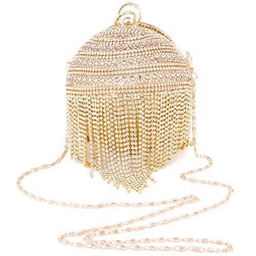 LONGBLE Glitzer Clutch Mini Kugel Form, Damen Runde Abendtasche mit Armreif und abnehmbarer Kette Party Braut Hochzeit Taschen Handtasche Umhängetasche Geldbörse, Glod