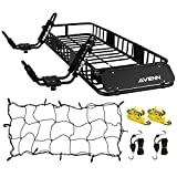 "AVENN 64"" x 23"" x 6"" Cargo Basket Roof Rack with Cargo Net & J-Bar Rack HD Kayak Carrier Canoe Boat Surf Ski Roof Top Mount Car SUV Crossbar, Black"
