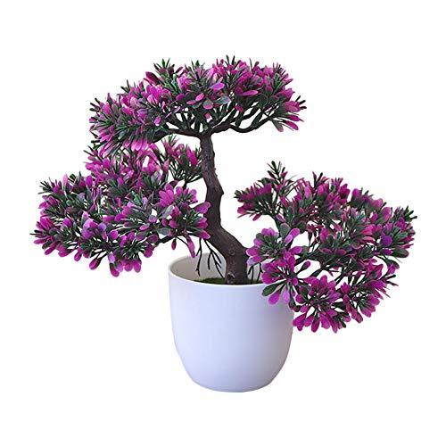 Fablcrew - Planta artificial con maceta Ganoderma Lucidum árbol bonsái artificial interior decoración para salón mesa de comedor dormitorio oficina