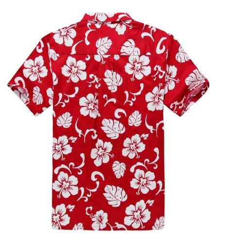 Palm Wave Men's Hawaiian Shirt Aloha Shirt M Red Hibiscus