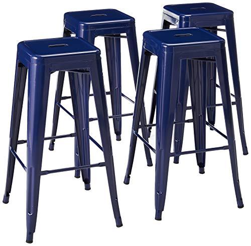 Amerihome Metal Bar Stool Set, 30-Inch, Blue, Set of 4