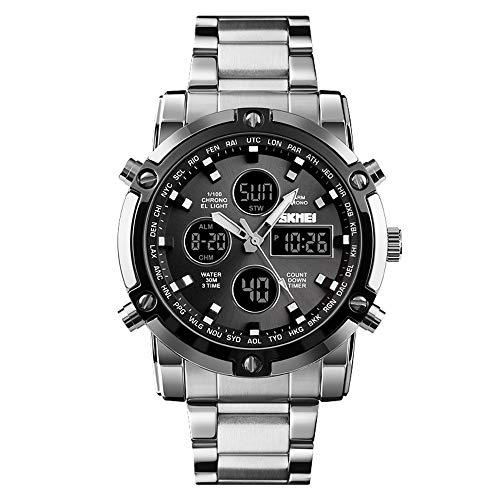 SKMEI Uhr Multifunktionale DREI Mal Große Zifferblatt Herren Elektronische Stahlband Uhren