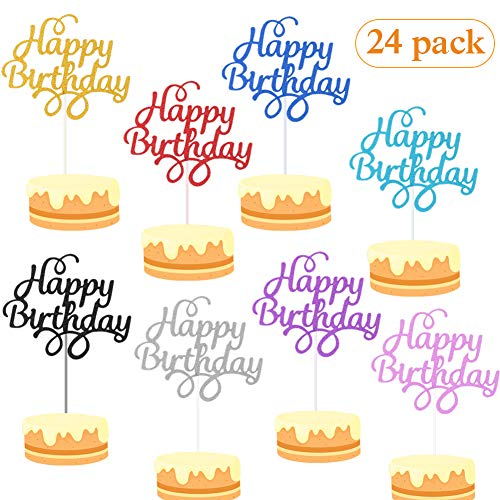 Cake Topper, Cake Topper Happy Birthday, Kuchendekoration Geburtstag, Tortenaufsatz, Tortendeko, Tortenstecker Geburtstag, Kuchendeckel, Cupcake Topper (24pcs)