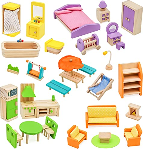 Soskakiist Pidoko Kids Dollhouse Furniture -Fully Furnished Bundle Set - (42 Pcs for 5 Rooms) - Wooden Toys
