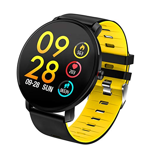 ZEIYUQI Heart Rate/Blood Pressure/Blood Oxygen Monitoring Calorie Smart Bracelet,Smart Sports Watch,2.5D Touch 1.3inch IPS,BLE 4.0,IP68,Call Reminder,Watchband Can Be Replaced,Yellow