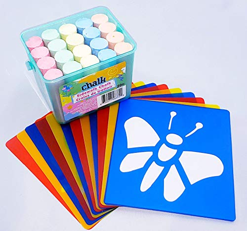 Stencils with Sidewalk Chalk | Indoor Outdoor | Arts and Crafts | Multicolor, Washable, Reusable, Durable Plastic, Non-Toxic, Fun Shapes for Boys and Girls