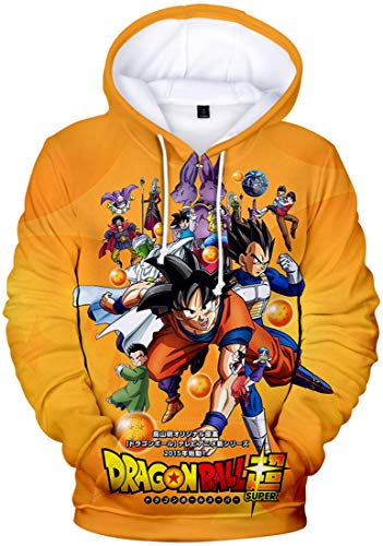 PANOZON Sudadera Goku Hombre con Capucha Chaqueta Anime de Figuras de Songoku Mangas Largas (XL, Ball 496-1)