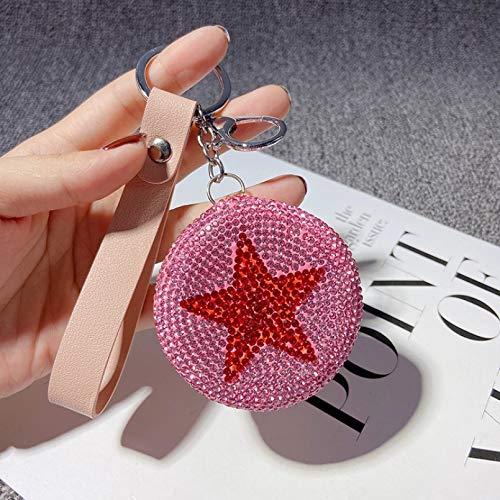 HWWGG Creativo Llavero de Espejo de Diamante de Doble Cara Plegable de Mano Espejo cosmético Bolsa de Coche Colgante Llavero de Regalo
