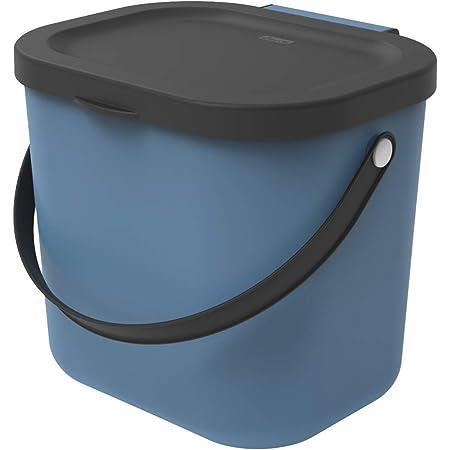 Rotho Albula Poubelle bio 6l avec couvercle et poignée pour la cuisine, Plastique (PP) sans BPA, bleu/anthracite, 6l (23.5 x 20.0 x 20.8 cm)