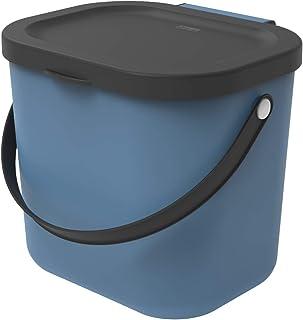 Rotho Albula Poubelle Bio 6 l avec Couvercle et Poignée pour la Cuisine, Plastique (PP) sans BPA, Bleu/Anthracite, 6 l (2...