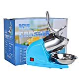 Electric Ice Crushers Machine Ice Snow Cone Maker Professional Double Blades Stainless SteelIceShaver Machine for Home Commercial Use (Blue)
