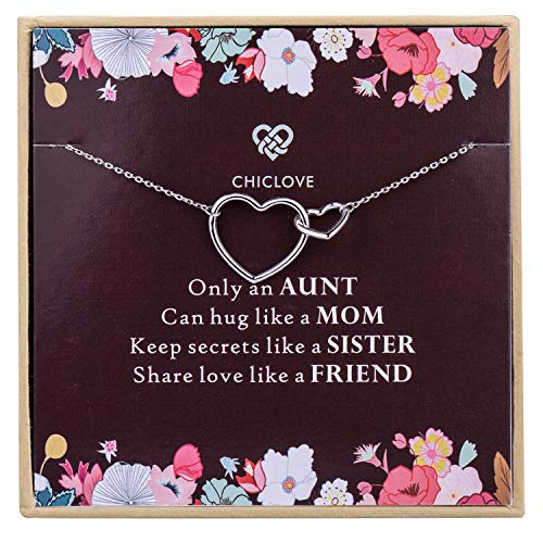 Aunt and Niece Necklace, 925 Sterling Silver, Best Aunt Gifts, Gifts for Aunts, Best Aunt Ever Gift Jewelry, Pendant Necklaces for Aunt, Mother's Day (sterling silver aunt necklace)