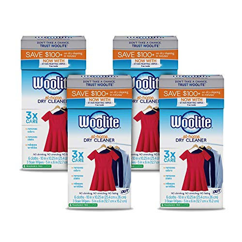 Woolite At-Home Dry Cleaner Dry Cleaning Cloths and Stain Removal, Easy to Use, Safe on Wool, Cashmere, and Designer Jeans, Fragrence Free - 24 Loads / 120 Articles of Clothing