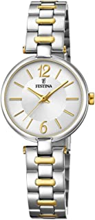 Festina F20312/1 Two-Tone Stainless Steel Round Analog Watch for Women - Silver and Gold