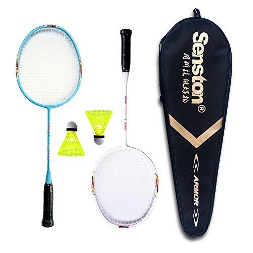 Senston Badminton Racket Set for Kids Junior Badminton Racket Kit (Blue+White) Including 2 Racket/2 Shuttlecocks/1 Bag