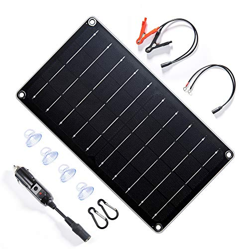 Topsolar 10 Watt 12 Volt Solar Panel Battery Charger, 10W 12V Portable Solar Trickle Battery Maintainer with Cigarette Lighter Plug & Alligator Clip for Car, Boat, Motorcycle, Tractor