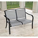 Hanover Foxhill All-Weather Grade Aluminum Loveseat with Sunbrella Fabric, FOXHLLVST-GMASH Commercial Outdoor Furniture, Gunmetal/Ash Sling