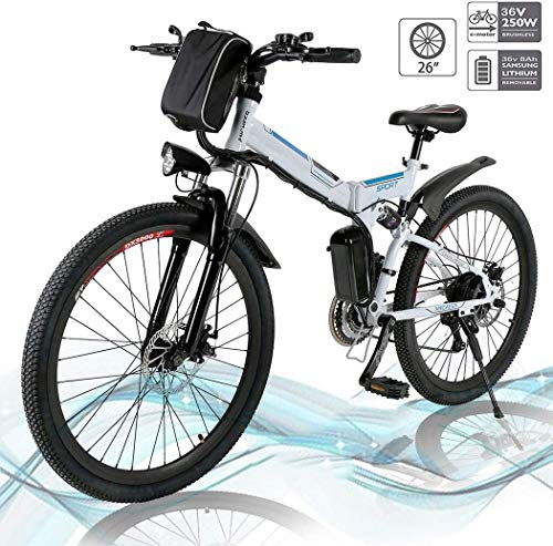 Hesyovy 26'' Folding Electric Mountain Bike Removable Large Capacity Lithium-Ion Battery (36V 250W), Electric Bike 21 Speed Gear and Three Working Modes (White-Foldable)