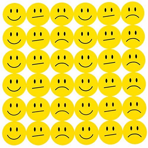 Oblique-Unique® 180 Gelbe Smiley Face Sticker ø 2cm - Lächeln - Neutral - Traurig