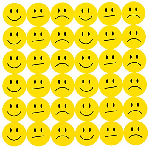 Oblique Unique® 180 Gelbe Smiley Face Sticker ø 2cm - Lächeln - Neutral - Traurig