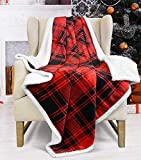 Red Plaid Sherpa Fleece Blanket, Super Soft Warm Cozy Flannel Reversible Buffalo Check Throw Blanket for Couch Sofa Bed, 50' x 60'